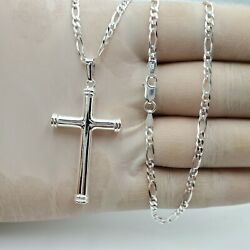 925 Sterling Silver Cross 24quot;chain Necklace Pendant Men Women $34.99