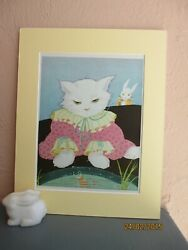 vintage illustration of Peter Rabbit watching cat by Fern Bisel Peat 1943 $19.50