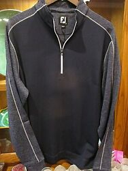 NEW Footjoy Tonal Heather 1 2 Zip Mid Layer Navy Size Large $59.95
