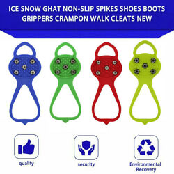 Non slip Snow Cleats Shoes Boots Cover Step Ice Spikes Grips Crampons For Hiking $8.99