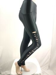 NWT Nike C19485 010 Women Sportswear Pleated Side Leggings Tight Black Size XS $45.00