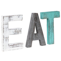 Rustic Wood Love Sign Home Decor EAT HOME FAMILY Weathered Wooden Letters Block $16.99