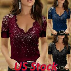 Women Slim Lace Long Sleeve Rhinestone Hot Drill V neck Top Blouse Tunic T Shirt $15.39