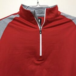FJ FootJoy Mens Medium 1 4 Zip Long Sleeve Golf Pullover Red Gray Spandex $38.88