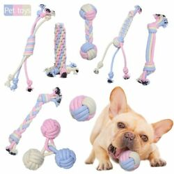 Pet Toys Cotton Rope Cat Dog Colorful Knots Chew Toys Knot Puppy For Pets $11.91