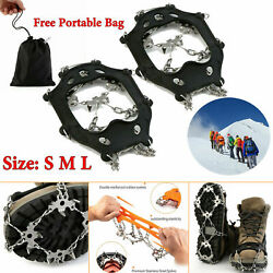Anti skid Ice Spikes 18 Teeth Hiking Snow Crampons Shoes Gripper Traction Cleat $8.77