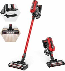 MOOSOO K23 Cordless Vacuum 300W Powerful Stick Vacuum 5 Stages Filtration Red $69.99