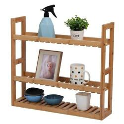 3 Tiers Bamboo Wall Mounted Shelf Bathroom Rack Storage Adjustable Living Room $21.99