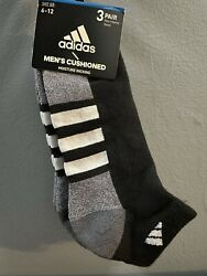 Adidas men socks 3 pair cushioned moisture wicking size 6 12 new black gray grey $15.99