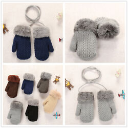 1 Pairs Kids Winter Gloves Thermal Snow Soft Warm On String Full Finger Mitten $4.99