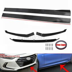 Front Bumper Lip Spoiler Splitter amp; 86.6quot; Side Skirt For Hyundai Elantra 2017 18 $88.99