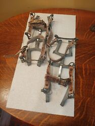 VINTAGE ICE SPIKES TREE CLIMBING METEL WITH LEATHER STRAPS. $35.99