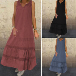 Women Plus Size Sleeveless V Neck Long Dress Ruffle Beach Party Dresses Sundress $15.99
