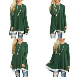 Womens Lace Long Sleeve T Shirt Dress Flowy Tunic Blouse Tops $30.43