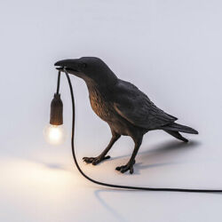 Bird Shaped Table Lamps LED Crow Desk Lamps Bedroom Wall Sconce Light Decor $33.92