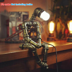 Robot Water Pipe Desk Light Steampunk Industrial Vintage Retro Table Lamp Gift $48.50