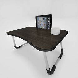 Corson Tools Portable Foldable Laptop Table Desk Walnut and Black for Couch Bed $24.99