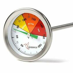 Compost Soil Thermometer by Greenco Stainless Steel Celsius and Fahrenheit Tem $31.74