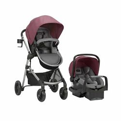 Evenflo Pivot Modular Travel System SafeMax Car Seat Dusty Rose Rubber Tires $312.93