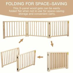 17.5quot; H Foldable Pet Dog Fence Free Standing Folding Solid Wood Playpen Gate $42.49