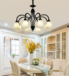 8 Light Glass Shade Pendant Lamps Retro Wrought Iron Chandeliers Ceiling Fixture $189.19