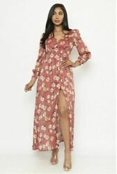 Red Floral Long Sleeve Maxi Dress Size Small Button Down V Neck $24.95