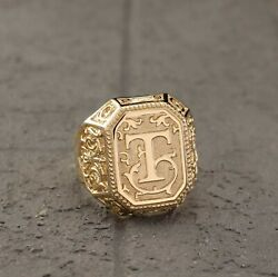 Mens Personalized Signet 925 Silver Gold With Engraved Letter Gift Rings P1690 $56.98