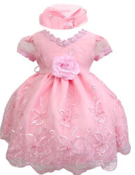 Hermosala Baby Girl Toddler Pink or Lilac Easter Wedding Formal Party Dress Hat $9.99