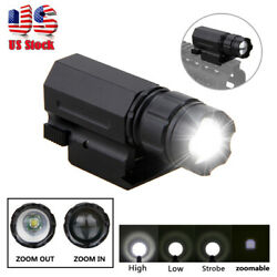 Tactical Zoomable LED Flashlight Gun Rifle Pistol Rail Mount Hunting Light Torch $15.99