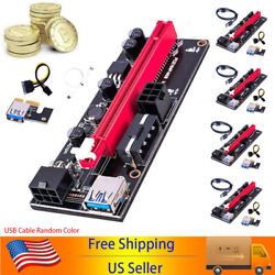 6 24x USB3.0 PCI E Express 1x To16x GPU Extender Riser Card Adapter Power Cable $43.99
