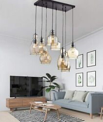 Antique Chandeliers Cognac Glass Cluster Pendant Lamps Ceiling Fixtures Lighting $159.59