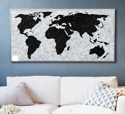 Large Original Wall Art Painting On CanvasHeavy Texture Palette Knife World Map $525.00