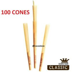 RAW Classic LEAN SIZE Cone Rolling Papers 100 Pack Pre Rolled w Filter BULK $19.50