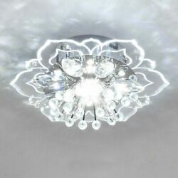 Modern LED Crystal Ceiling Light Circular Flower Shape Ceiling Lamp For Hallway $65.08