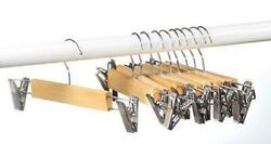 10 PACK Wood skirt hangers with Clips or pants hangers with clips Natural $17.29