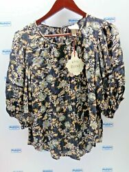 KNOX ROSE WOMENS BLACK GOLD FLORAL ¾ SLEEVE BLOUSE NEW $24.99