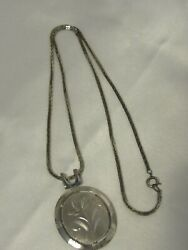 Vintage Silver Tone Necklace with Etched Flower Oval Pendant 24quot; $3.50