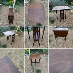 🌟Antique Table Wooden Small Side Folding Drop Leaf Gate Leg Sutherland Style GBP 295.00