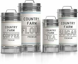 Nesting Kitchen Metal Canisters 4 Piece Set Rustic Barnyard Design Silicone Seal $48.99