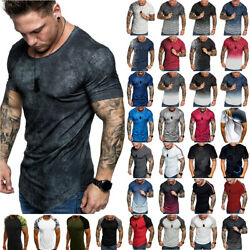 Summer Mens T Shirt Muscle Fitness Casual Short Sleeve Workout Tee Shirts Tops $16.62