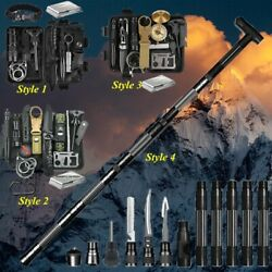 Camping Survival Kit Walking Cane Trekking Poles Hiking Stick Alpenstock Tools $27.99