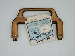 Vintage Wooden Purse Bermuda Handle Frame w Pattern Nu Life Boho DIY Sewing A100 $12.99