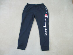 Champion Pants Adult Extra Large Blue White Spell Out Joggers Casual Mens B47* $19.90