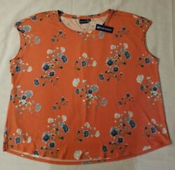 Northcrest Sienna Womens Plus *3X* Sleeveless Blouse Shirt Top Blue Floral NICE $15.99