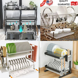 Over the Sink Dish Drying Rack 2 Tier Large Dish Dryer Rack Kitchen Holder US $52.68