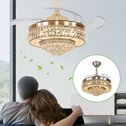 42quot; Retractable Crystal Chandelier Gold LED Invisible Ceiling Fan Light Remote $133.01
