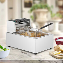 2500W Electric Deep Fryer Countertop Stainless Steel Home Commercial Restaurant