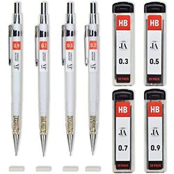 Drafting Pencil Set Each Mechanical With Erasers Pencils 0.3 0.5 0.7 0.9 Mm $8.93