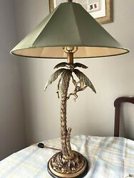 Frederick Cooper Monkey In Bronze Palm Tree Hollywood Regency Lamp w Shade 30quot; $249.95