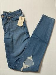 *NWT* Universal Thread Women's Size 6 Long High Rise Distressed Skinny Jeans